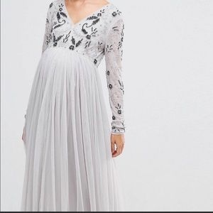 Euc ASOS Maternity tule dress with beading